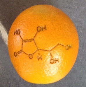 Laser printed orange of Vitamin C